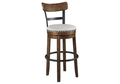 Valebeck Brown Tall Upholstered Swivel Bar Stool