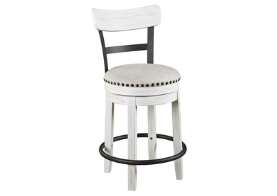 Valebeck White Upholstered Swivel Bar Stool