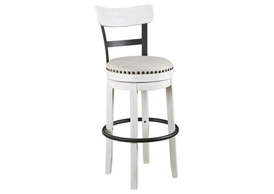 Valebeck White Tall Upholstered Swivel Bar Stool