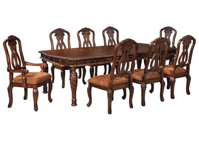 North Shore Dark Brown Rectangular Dining Table w/4 Side Chairs & 2 Arm Chairs