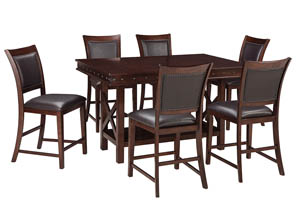Collenburg Dark Brown Rectangular Dining Room Counter Extension Table w/6 Upholstered Barstools