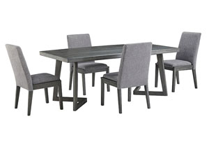 Besteneer Dark Gray Rectangular Dining Table w/4 Side Chairs