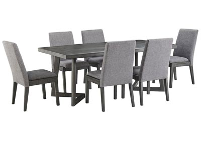 Image for Besteneer Dark Gray Rectangular Dining Room Table w/6 Chairs