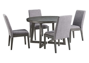 Besteneer Dark Gray Round Dining Table w/4 Side Chairs