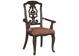 Gladdenville Brown Dining Upholstered Arm Chair (Set of 2)