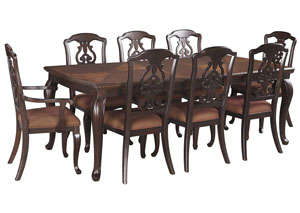 Gladdenville Brown Rectangular Dining Room Extension Table w/2 Arm Chairs & 6 Side Chairs