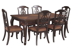 Gladdenville Brown Rectangular Dining Room Extension Table W/6 Side Chairs