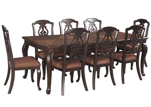 Gladdenville Brown Rectangular Dining Room Extension Table w/8 Side Chairs
