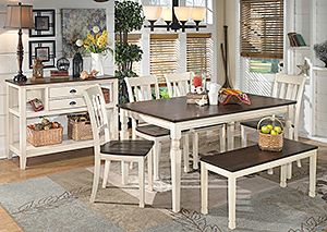 Whitesburg Rectangular Dining Table w/ 4 Side Chairs, Bench & Server