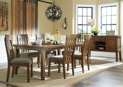 Image for Flaybern Light Brown Extension Dining Table w/6 Side Chairs