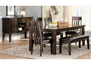 Haddigan Dark Brown Rectangle Dining Room Extension Table w/4 Upholstered Side Chairs, Bench & Server