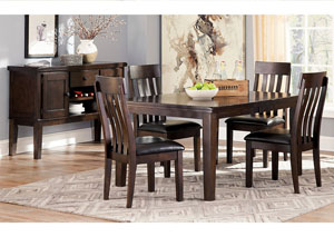 Haddigan Dark Brown Rectangle Dining Room Extension Table w/ 4 Upholstered Side Chairs & Server
