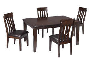 Haddigan Dark Brown Rectangle Dining Room Extension Table w/ 4 Upholstered Side Chairs