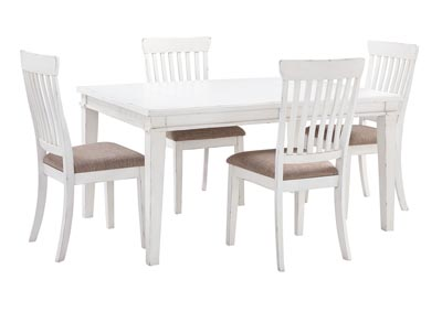 Danbeck White Dining Table Set w/Dining Table and 4 Side Chairs