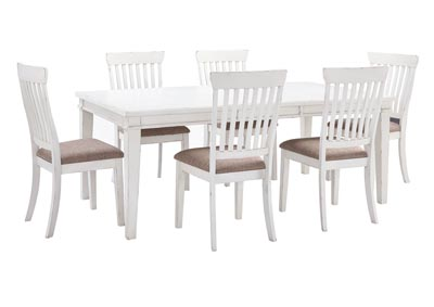 Danbeck White Dining Table Set w/Dining Table and 6 Side Chairs