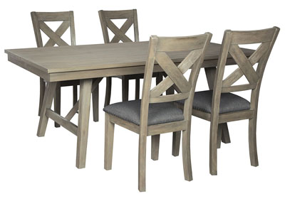 Aldwin Gray Dining Table w/4 Side Chairs