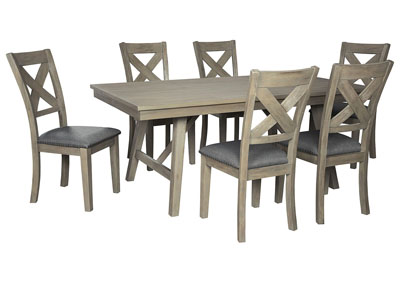 Aldwin Gray Dining Table w/6 Side Chairs