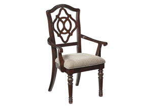 Leahlyn Reddish Brown Dining Upholstered Arm Chair (Set of 2)