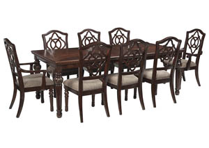 Leahlyn Reddish Brown Rectangular Dining Room Extension Table w/2 Arm Chair and 6 Side Chairs