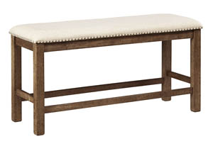 Moriville Gray Double Upholstered Dining Bench