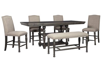 Audberry Dining Set w/4 Bar Stools & Bench