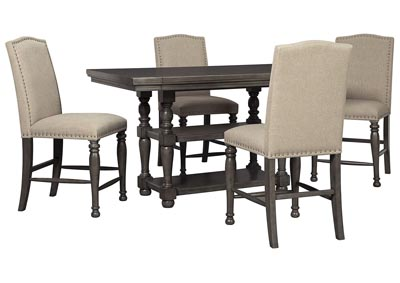 Audberry Dining Set w/4 Bar Stools