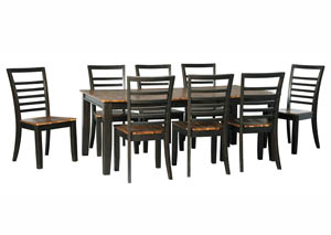 Quinley Two-Tone Brown Rectangular Dining Room Butterfly Extension Table w/8 Side Chairs