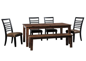 Manishore Brown Rectangular Dining Room Table w/Bench and 4 Upholstered Side Chairs
