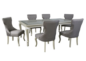 Coralayne Silver Finish Rectangular Dining Room Extension Table w/6 Side Chairs