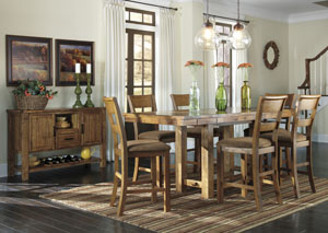 Krinden Counter Height Extension Table w/6 Upholstered Barstools & Server