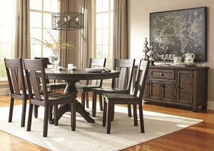Trudell Golden Brown Round Dining Room Extension Pedestal Table w/ Server and 6 Side Chairs