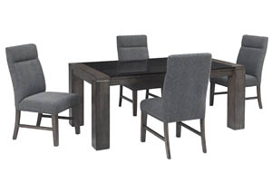 Chansey Dark Gray Rectangular Glass Top Dining Room Table w/4 Upholstered Side Chairs