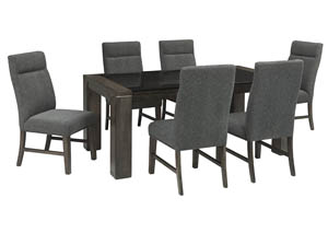 Chansey Dark Gray Rectangular Glass Top Dining Room Table w/6 Upholstered Side Chairs
