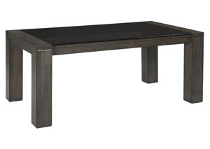 Chansey Dark Gray Rectangular Dining Room Table w/Glass Top
