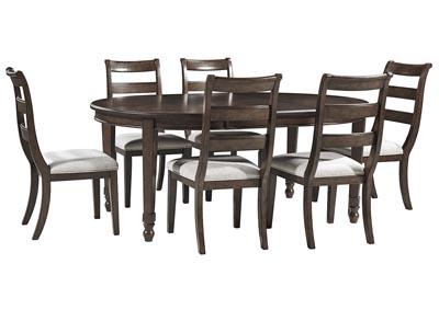 Adinton Reddish Brown Dining Extendable Table w/6 Side Chair