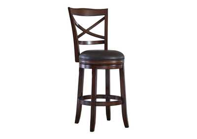 Porter Rustic Brown Tall Upholstered Swivel Barstool (Set of 2)