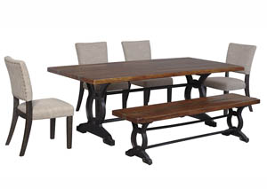 Zurani Brown/Black Rectangular Dining Room Table w/4 Upholstered Side Chairs & Bench