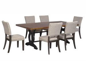 Zurani Brown/Black Rectangular Dining Room Table w/6 Upholstered Side Chairs