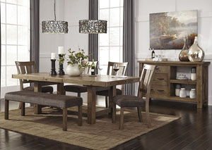 Tamilo Gray/Brown Rectangular Dining Room Extension Table w/4 Side Chairs, Bench and Server