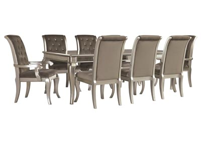 Birlanny Silver Dining Room Table w/6 Side Chairs & 2 Arm Chairs