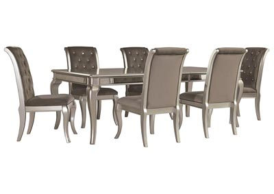 Birlanny Silver Dining Room Table w/6 Side Chairs