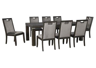 Hyndell Dark Brown Extenable Dining Table w/8 Side Chair