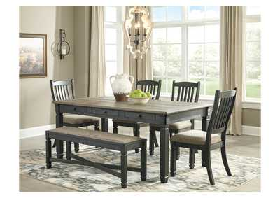 Tyler Creek Black/Gray Rectangular Dining Table w/4 Upholstered Dining Chairs and Upholstered Bench