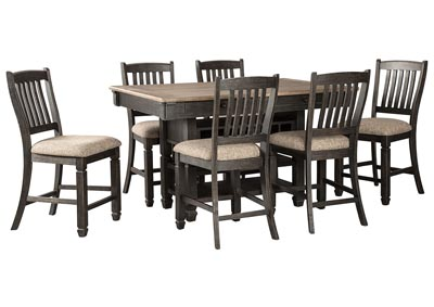 Tyler Creek Black/Grayish Brown 7 Piece Counter Height Dining Set