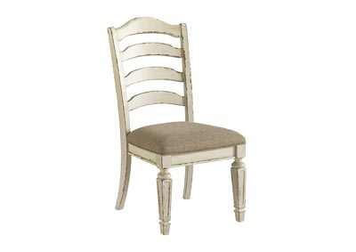 Realyn Chipped White Upholstered Dining Side Chair (Set of 2)