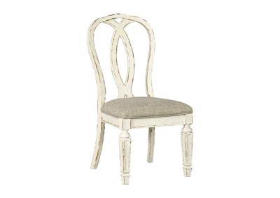 Realyn Chipped White Dining Upholstery Side Chair (Set of 2)