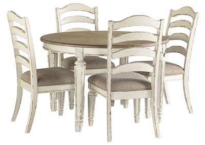 Realyn Chipped White Dining Set w/4 Side Chairs