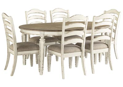 Realyn Chipped White Dining Set w/6 Side Chairs