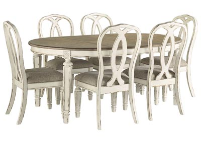 Realyn Chipped White Dining Set w/6 Ribbon Back Side Chairs