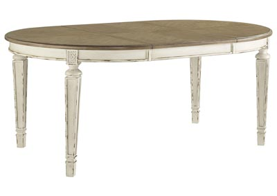 Realyn Chipped White Oval Extended Dining Table